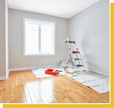 Bright room with painting equipment in it.